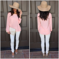 Rain or Shine Long Sleeve Blouse - Pink