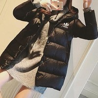 """""""Adidas"""" Women Fashion Simple Solid Color Thickened Long Sleeve Zip Cardigan Hooded Cotton-padded Clothes Bread Coat"""