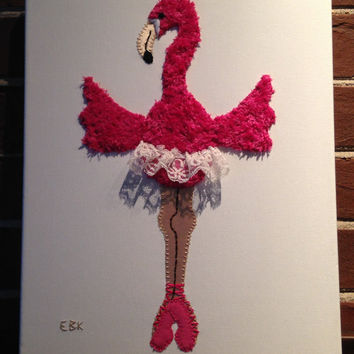 Dancing Flamingo #1 Fabric Wall Art