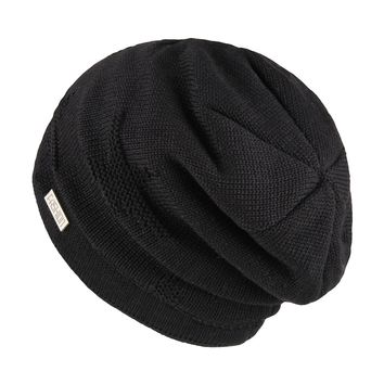 OMECHY Winter Knit Slouchy Beanie Hat Unisex Daily Warm Ski Skull Cap, Black