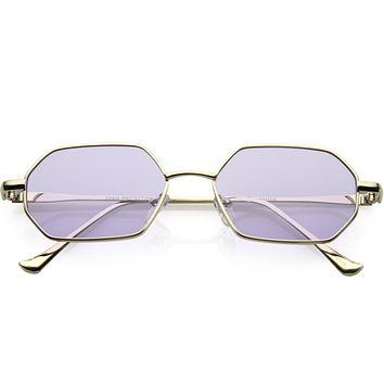 a7fa277da486 Small Retro 1990's Geometric Hexagon Color Tone Metal Sunglas.