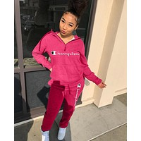 Champion Newest Popular Women Casual Print Long Sleeve Hoodie Top Pants Set Two-Piece Sportswear Rose Red