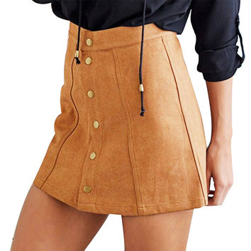 Suede Brown Skirt With Buttons