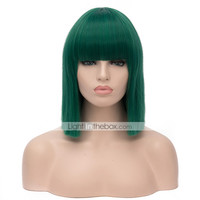 [$17.87] Top Quality Midlle Long Straight Green Color Cosplay Hair Synthetic Wig