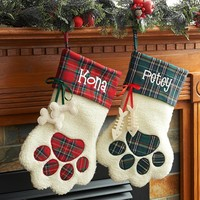Dog Paw and Cat Paw Christmas Stockings