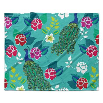 "Anneline Sophia ""Mexican Peacock"" Teal Rainbow Fleece Throw Blanket"