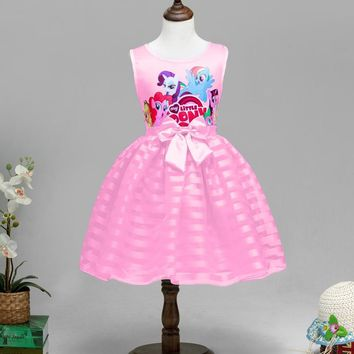 New Girls Dress Princess Cartoon Pony Kids Clothing Party Fancy Costume Cosplay Baby Tutu Dresses elsa costume
