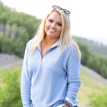 Jadelynn Brooke: Powder Blue/Cream Boyfriend Pullover