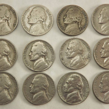 Jefferson Nickel Coins, Thomas Jefferson Collectible Coin Series Lot Set,  1940s, 1950s, 1960s, 1970s