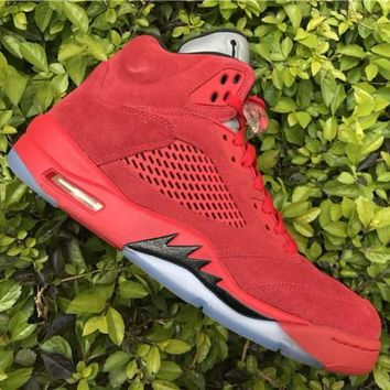 Air Jordan 5 Retro Raging Bull Flight Suit Red Suede AJ5 Sneakers - Best Deal Online