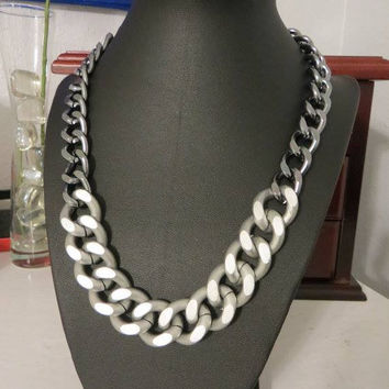 Chunky Chain Necklace - Matte Silver and Gunmetal