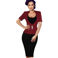 Vfemage Womens Elegant Faux Twinset Peplum Belted Tunic Wear to Work office Business Casual Bodycon Sheath Pencil Dress 1880