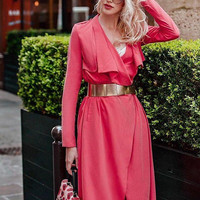 Red Wrap Dress Red Trench  Red Trench Coat Red Women Trench Dark Red Outwear Scarlet Dress Coral Dress Coral Trench