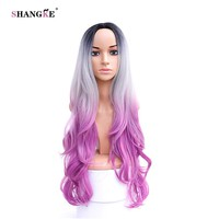 SHANGKE Hair 32'' Long Wavy Synthetic Wigs For Black Women Pink Ombre Wig Heat Resistant Synthetic Female Hair Wig