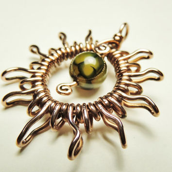 fire agate sun pendant - wrapped in copper wire - handmade by keoops8