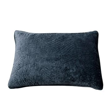Tache Navy Blue Velvety Dreams Luxury Velveteen Plush Waves Pillow Sham (JHW-852BL-Sham)