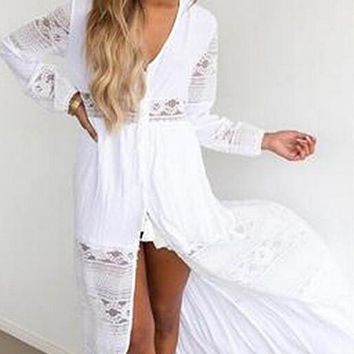 White Lace Draped Slit Deep V-neck Long Sleeve Bohemian Maxi Dress