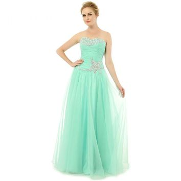 Tulle Beads Sweetheart Neck Long Prom Dresses Sleeveless Backless Floor Length Prom Gowns