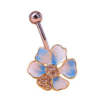 Pixnor Sexy Rhinestone Lotus Ball Navel Belly Button Ring Barbell Body Piercing Jewellery Blue