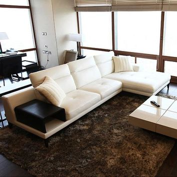 Genuine White Leather Sofa Sectional Living Room Home Furniture