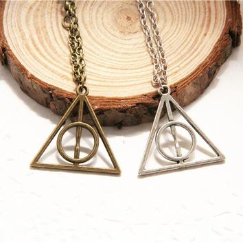 Harry Potter Deathly Hallows Geometric Triangle Pendant Necklace