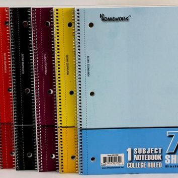 Discount One Subject Wire Notebook - College Ruled Case Pack 48
