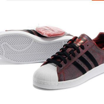 CREY9N Adidas' Fashion Shell-toe Flats Sneakers Sport Shoes Red brown