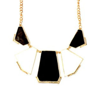 Enamel Plate Panels Bib Necklace NJ15 Geometric White Black Collar Art Deco