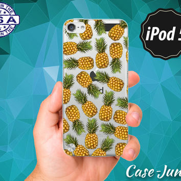 Pineapple Fruit Pattern Pop Art Tumblr Inspired Cute Summer Rubber Transparent Crystal Clear Custom Case For iPod Touch 5th Generation Gen