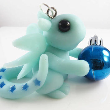 Polymer clay dragon christmas ornament