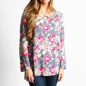Bell Sleeve Love Print Top