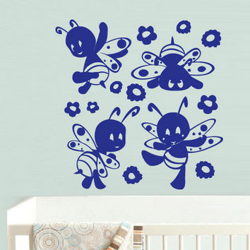 rvz696 Wall Vinyl Sticker Bedroom Funny Bee Honeybee Baby Kids Nursery