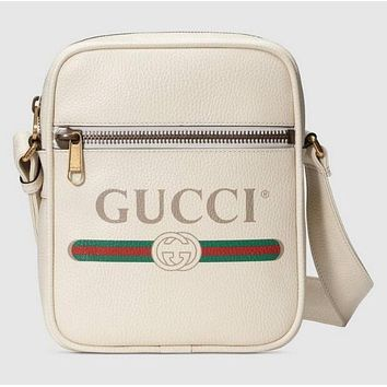 GUCCI Classic Trending Women Men Leather Single Shoulder Bag Zipper Crossbody Satchel White