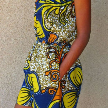 African Print Playsuit - Size: US 2 - 4 (UK 6 - 8)