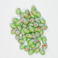 Paper Beads, Loose Handmade Supplies Christmas Holiday Green w/ Red