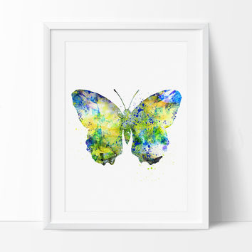 Butterfly Watercolor Painting, Butterfly Art Print, Butterfly Poster Wall Art, Watercolor Art, Archival Art Print (84)
