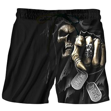 Summer Men Beach Shorts 2017 Skull Punisher 3D Print Fashion Men's Bermuda Boardshorts Fitness Trousers Plus Size 6XL Quick Dry