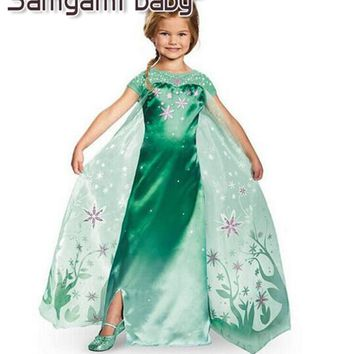 SAMGAMI BABY 2017 Girls dress, Elsa Girls Costume For Kids Princess Dress Cartoon Costume Girls Dresses Free Delivery Elsa Dress