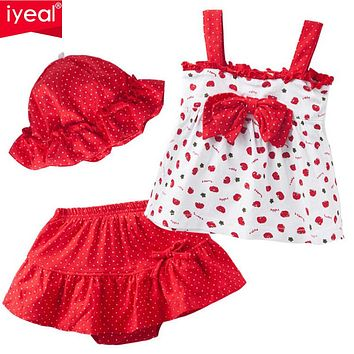 IYEAL 2017 Summer Baby Girl Clothes Set Children T-shirt+Tutu pants+hat 3PCS Kids Infant Newborn bebe Clothing Set For 0-2 years