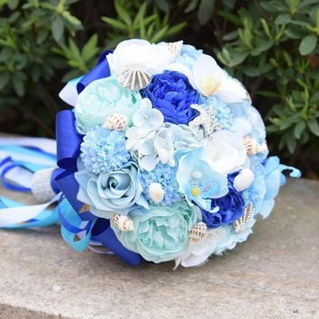 Blue Beach Wedding Bouquet Artificial Silk Rose Crystal Brooch Bridal Bouquets Ribbon Bouquet