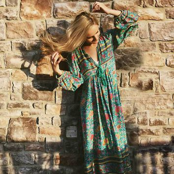 Boho Inspired summer dress bohemian floral print long sleeve tassel maxi dresses V-neck loose dress women hippie chic vestidos