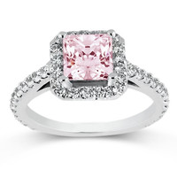 Sparkling 3.36 carats pink halo princess diamond anniversary ring white gold