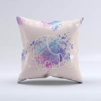 The Fun Sacred Elephants ink-Fuzed Decorative Throw Pillow