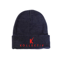 "Kollectiv ""K"" Unisex Knit Beanie 12"" Fold (Nvy/Red)"