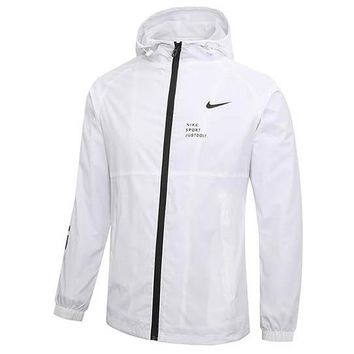 NIKE 2018 new men running outdoor sports breathable zipper cardigan jacket white