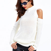 White High Neck Cold Shoulder Ribbed Knit Sweater