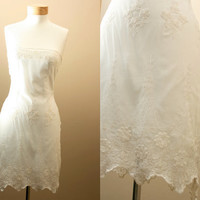 Medium / Strapless, off- white, Crochet, Lace, 1920's inspired, Formal, Bridal, Wedding, Lovely Dress