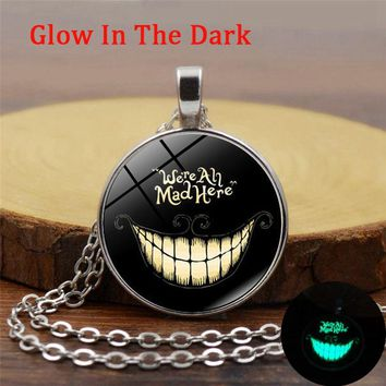 Alice In Wonderland Luminous Necklace Cheshire Cat Glass Glow In The Dark Jewelry Silver Long Chain Cabochon Neckalce for Women