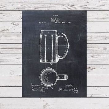 Patent Print of a Beer Mug Patent From 1876 - Art Print - Patent Poster - Beer - Beer Art - Beer Decor - Bar - Spirits - Beer Print