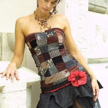 Bohemian patchwork cocktail dress by KataKovacs on Etsy
